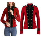 Womens Red Wool Military Jacket Army Commander Officer Band Trench Steampunk