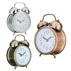 3 Mini Non-ticking Vintage Classic Loud Twin Bell Alarm Clock Battery Operated