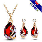 Genuine 18k White Gold Plated Cz Crystal Tear Drop Pendant Necklace Earring Set
