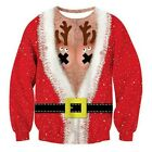 Christmas Funny 3d Printed Round Neck Shirt Autumn Winter Personality Couple Top