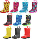 Norty Toddlers Little Big Kids Boys Girls Waterproof PVC Rain Boots - 10 Colors