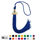 """Single Color College Graduation Tassel 9"""" With Gold Year Date Drop"""