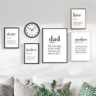 Modern Dad Mother Quotes A4 Poster Home Decor Wall Art Print Canvas Painting
