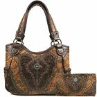 Zelris Western Floral Damask Pattern Medallion Concealed Carry Purse Wallet Set