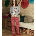 Ladies Womens Christmas Xmas Pug Long Sleeve PJs Pyjamas Set Size 10 12 22 24
