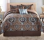 NEW 7 Piece King Queen Comforter Set With Bedskirt Modern Deco Bedding Bedspread image