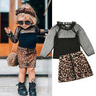 US Toddler Kid Baby Girl Clothes Long Sleeve Lace Top+Leopard Skirt Pants Outfit