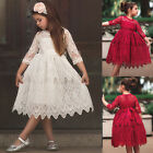 XMAS Kids Baby Girls Lace Crochet Princess Tulle Party Pageant Swing Dress 3 8Y