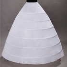 6 Hoop Women Ankle-length White Petticoat Skirt Wedding Quinceanera dress Slips