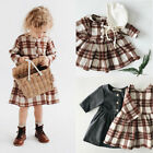 US Infant Baby Girl Popular Plaid Long Sleeve Ruffles Dress Summer Clothes Tops