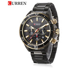 CURREN Black Luxury Business Mens Watch Stainless Steel Japanes Quartz Watches image