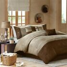 Chic 7pc Textured Brown & Khaki Microsuede Comforter Set AND Decorative Pillows image