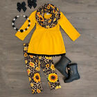 US Child Toddler Kids Girls Outfits Clothes Long Sleeve T shirt Tops Pants Sets