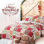 Quilt 3 Piece Christmas Rustic Western Lodge Cabin Bedspread Set Snow Man Top image