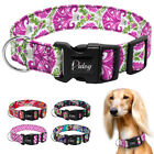 Floral Nylon Dog Collar with Adjustable Buckle for Small Medium Large Dogs S M L