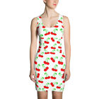 Sublimation Cut & Sew Dress with Red Cherry Fruit Design White Ladies Dress
