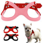 Suede Leather Small Dog Harness Glasses Style Step in Dog Vest with Rainstore