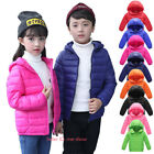 Kids Girls Boys Winter Warm Cotton Down Jacket Quilted Coat Hooded Outerwear New
