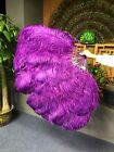 "Dark purple XL 2 layers Ostrich Feather Fan 34"" x 60"" with leather Travel Bag"
