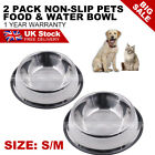 2Pack Dog Bowl Stainless Steel Pet Puppy Animal Food Water Non-slip Small Medium