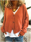 Womens Ladies V-Neck Buttons Knitted Sweater Cardigan Coat Jumper Tops Size 6-22