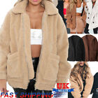 UK Women's Oversized Teddy Bear Coat Ladies Faux Fur Borg Zip Jacket Plus Size