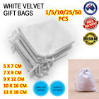 White Velvet Pouch Drawstring Bags Wedding Favours Gift Party Jewellery Packing