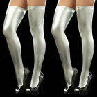 Womens Wet Look PU Leather Hold-Ups Thigh High Stockings Sexy Stay-Up Leggings