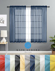 Designer Sheer Voile Rod Pocket Window Curtains - Assorted Colors & Sizes