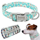Floral Personalized Nylon Dog Collar Custom Pet ID Nameplate Engraved Free S M L