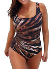 Plus Size Women's Vintage Monokini One Piece Retro Swimwear Bathing Suit Beach