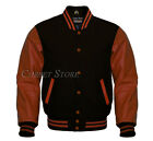 Varsity Letterman Young Style Jacket in Wool and Genuine Brown Leather Sleeves
