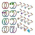 32pcs Nose Hoop Ring L-shaped Nose Studs Surgical Steel Pin Lip Ear Piercing 20g