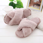 Womens Fluffy Fur Open Toe Cross Over Toe Comfy Mule Home Slippers Indoor Shoes