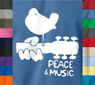 PEACE LOVE MUSIC Woodstock T-Shirt 70's Hippie Festival Concert  on Quality Tee image