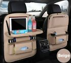 Leather Car Seat Organizer With Foldable Table Tray Back Seat Storage Cover