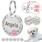 2pcs Crystal Round Dog Tag Personalized Dog ID Name Engraved Tags Free Hair Bows