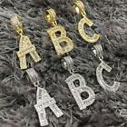 Baguette Initial Bubble Letter Pendant Necklace A-Z Gold Silver with Rope Chain image