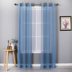 Basic Home Custom Sheer Voile Grommet Top Window Curtains - Assorted Colors