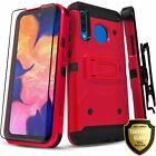 For SAMSUNG GALAXY A10E A20 A50 Full Cover Belt Case + Tempered Glass Protector