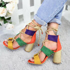 Womens Open Toe Block High Heel Ankle Strap Sandal Hollow Out Boots Shoes Size 6
