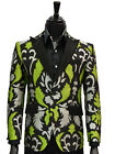 Angelino Mens Lime Green Black Silver Paisley Bling Pattern Formal Slim Blazer