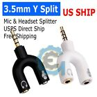 3.5mm Stereo Audio Male To 2 Female Headphone/mic U Splitter Cable Adapter New