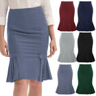 Belle Poque Womens Vintage Work Wear Ruffle Pencil High Waist Stretch Midi Skirt