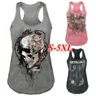 Womens Skull Head T shirt Sleeveless 3D Printed Vest Casual Gothic Sporty Tops