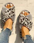 UK Womens Fluffy Fur Sliders Slippers Ladies Slip On Flat Sandals Shoes Size 3-7