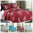 Kyпить 3 Pieces Microfiber Reversible Queen/King Quilt Set with Shams, Floral Print на еВаy.соm