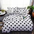 NOKOLULU Farmhouse Black Polka Dot Print on White Duvet Cover Set with Zipper Cl