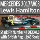 F1 Car Collection Mercedes 2017 W08 Lewis Hamilton British GP 44 Shark Fin decal