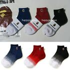 A BATHING APE Goods Men's APE HEAD ONE POINT GRADATION ANKLE SOCKS 3color New